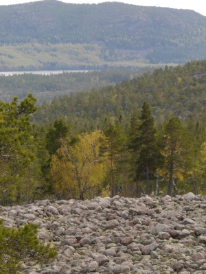 Typical rocky terrain and views opening out