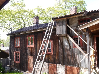 Wooden village in Turku that escaped the fire.Apparently the roof ladders are for fire prevention!