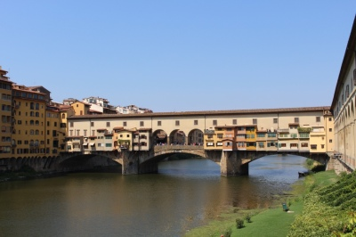Ponte vechio: A German General disobeyed orders as he refused to blow it up as the allies approached. It has housed jewellery shops since C15 as the butchers' smells offended the de Medici's who crossed between Palaces in the tunnel way across the top.