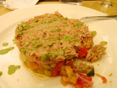 K's Tuscanny Soup! Fresh salads with tuna and salsa verde. Yum.