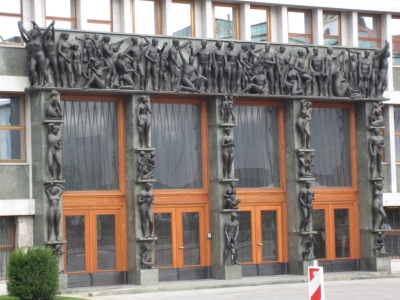 Parliament entrance doors: statues of the human struggle (very Communist era)