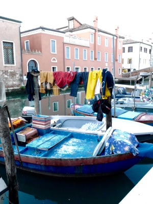 Fishing is the main industry here; one Italy's major fish trading hubs ... but still local fishermen ... work clothes drying
