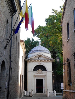 Dante Alighieri's tomb. He died here having been banished from Florence. They obviously regret this, as they supply a year's worth of oil for the lamp every Septemtber.