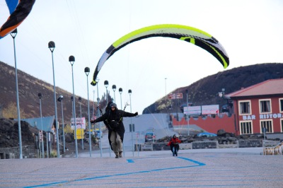 The car park was used for a mass paraglider landing.
