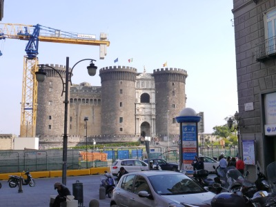 Meeting point for the tour - Castello Nuevo - typical of Napoli ... wonderful architecture .... but so much covered with scaffolding and surrounded by cars.