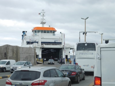 Simultaneous on and off and the ferry runs around as fast as it can.