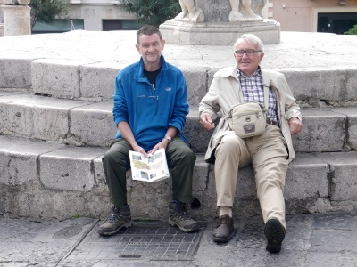 A little rest for the menfolk, as the women checked out a mosaic (unremarkable and up steps)!